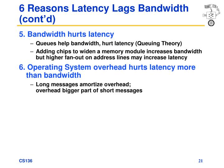 6 Reasons Latency Lags Bandwidth (cont'd)