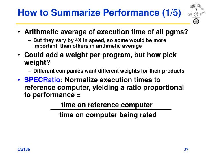 How to Summarize Performance (1/5)