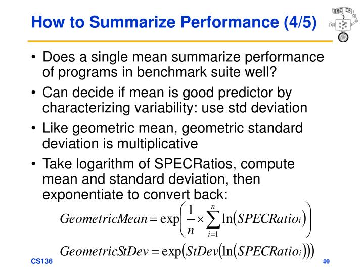 How to Summarize Performance (4/5)
