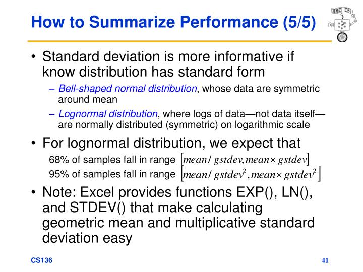 How to Summarize Performance (5/5)