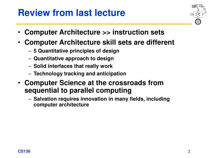Review from last lecture