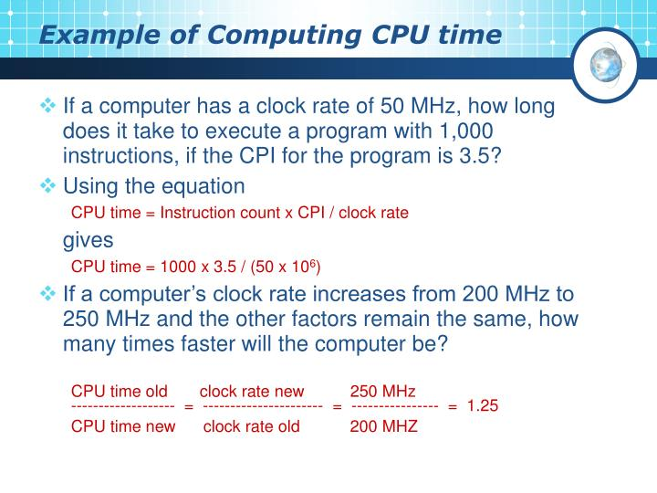 Example of Computing CPU time