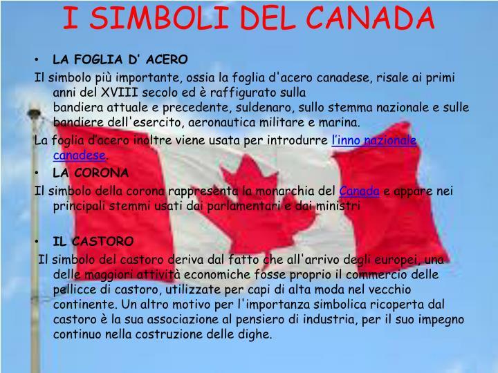 I SIMBOLI DEL CANADA