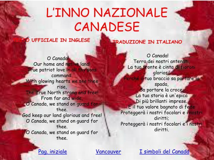 L'INNO NAZIONALE CANADESE
