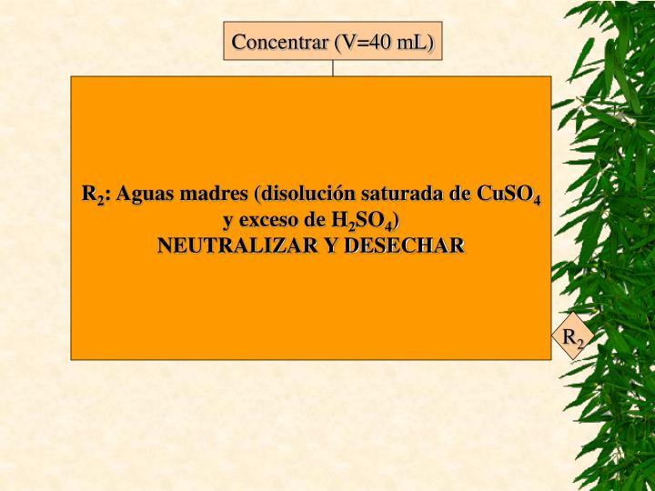 Concentrar (V=40 mL)