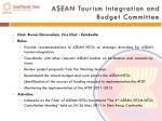 asean tourism integration and budget committee