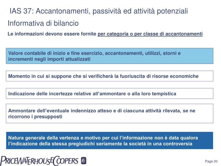 IAS 37: Accantonamenti, passività ed attività potenziali