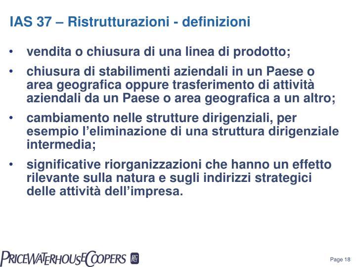 IAS 37 – Ristrutturazioni - defin