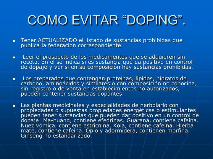 """COMO EVITAR """"DOPING""""."""