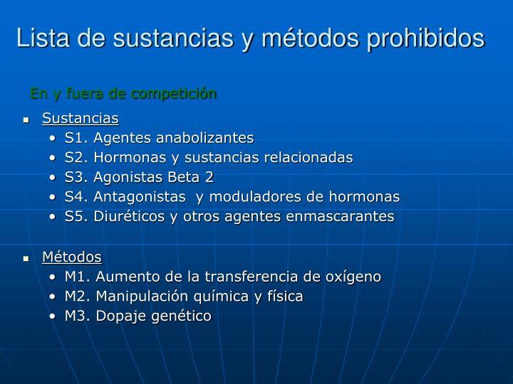 Lista de sustancias y métodos prohibidos