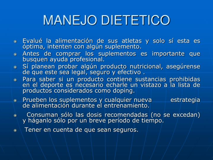 MANEJO DIETETICO
