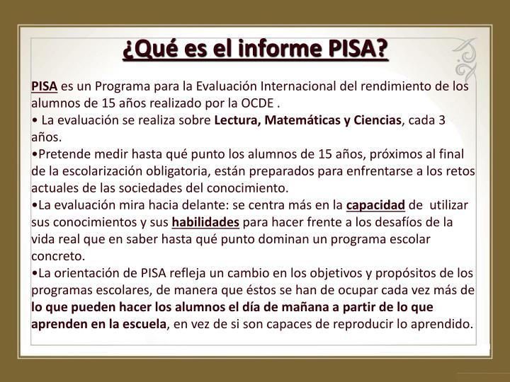 ¿Qué es el informe PISA?