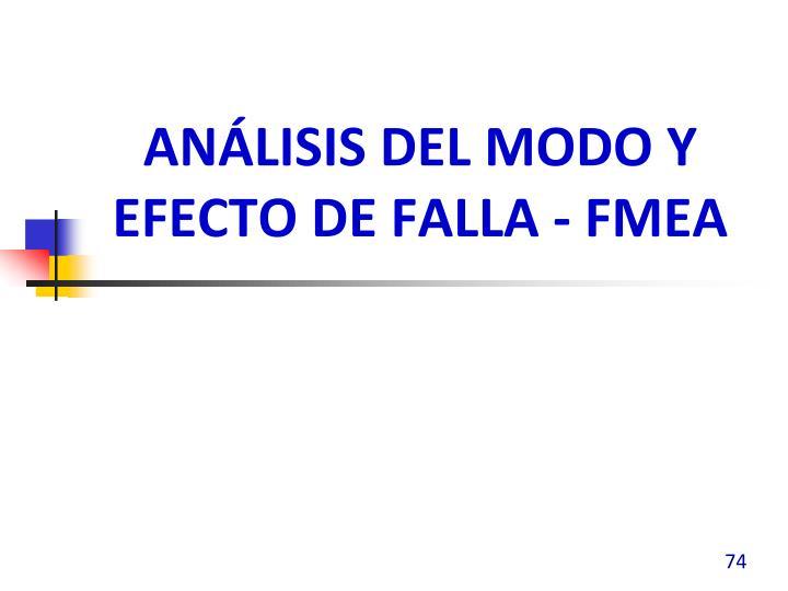 Análisis del modo y efecto de falla - FMEA