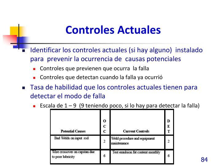 Controles Actuales