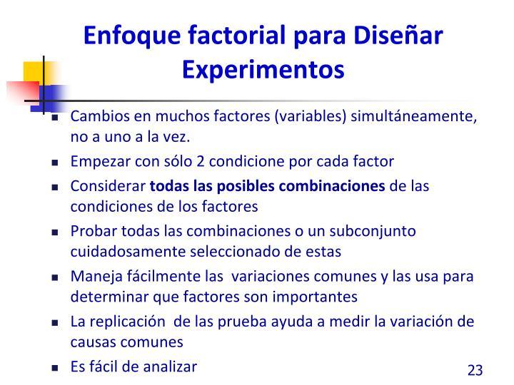 Enfoque factorial para Diseñar Experimentos