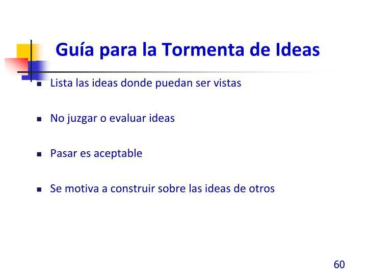 Guía para la Tormenta de Ideas