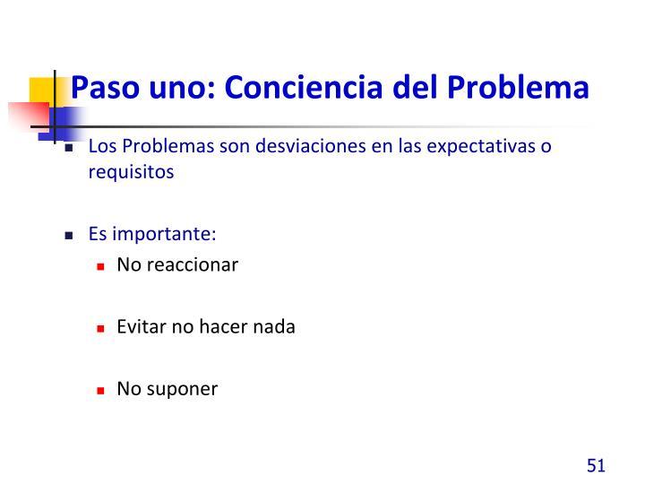 Paso uno: Conciencia del Problema