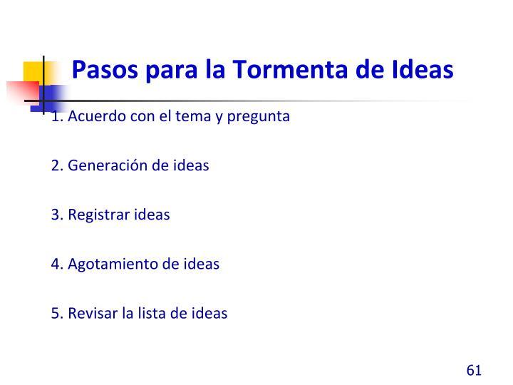 Pasos para la Tormenta de Ideas