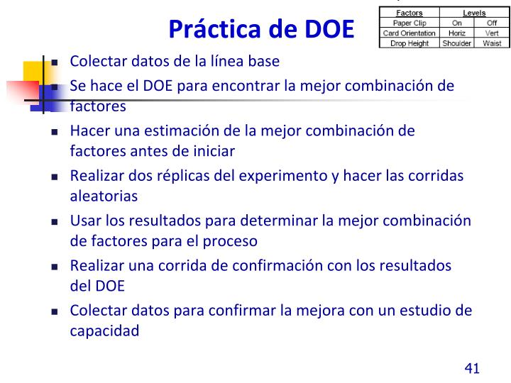 Práctica de DOE