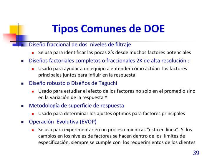 Tipos Comunes de DOE