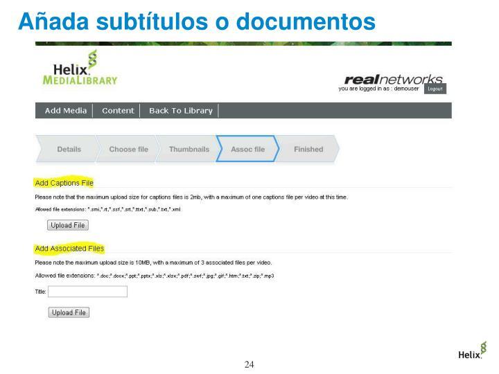 Añada subtítulos o documentos