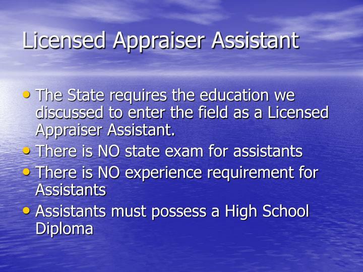 Licensed Appraiser Assistant