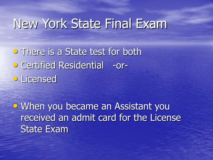New York State Final Exam