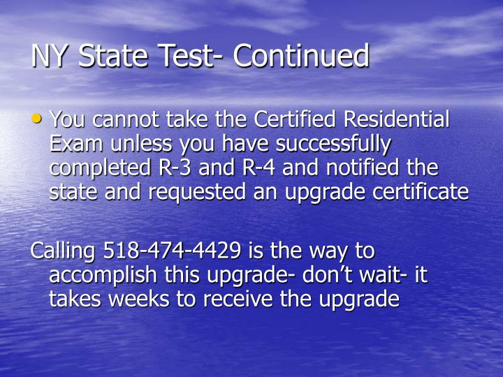 NY State Test- Continued