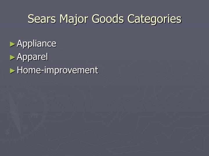 Sears Major Goods Categories