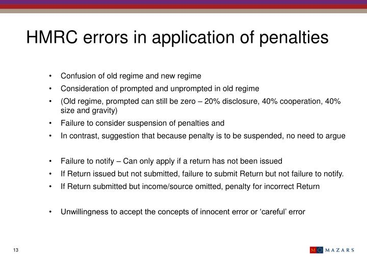 HMRC errors in application of penalties