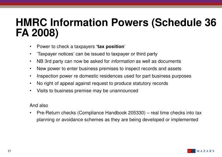 HMRC Information Powers (Schedule 36 FA 2008)