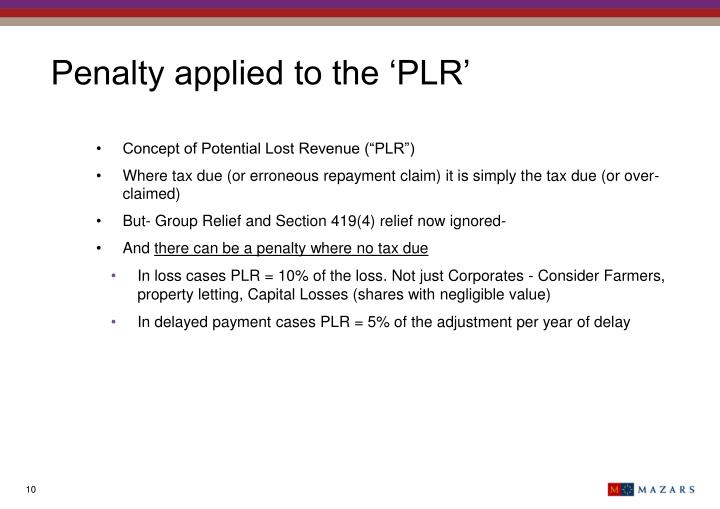 Penalty applied to the 'PLR'