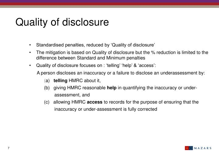 Quality of disclosure