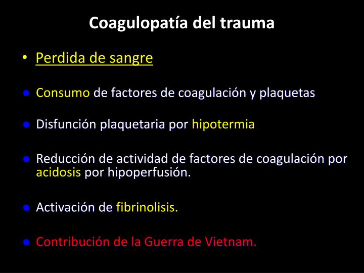 Coagulopatía del trauma