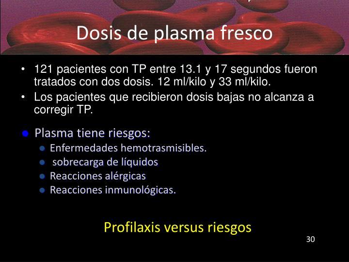 Dosis de plasma fresco