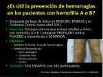 es til la prevenci n de hemorragias en los pacientes con hemofilia a o b