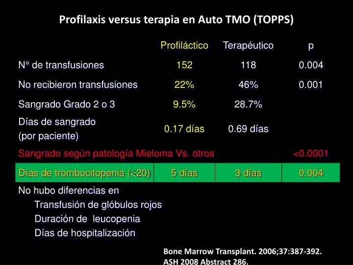 Profilaxis versus terapia en Auto TMO (TOPPS)