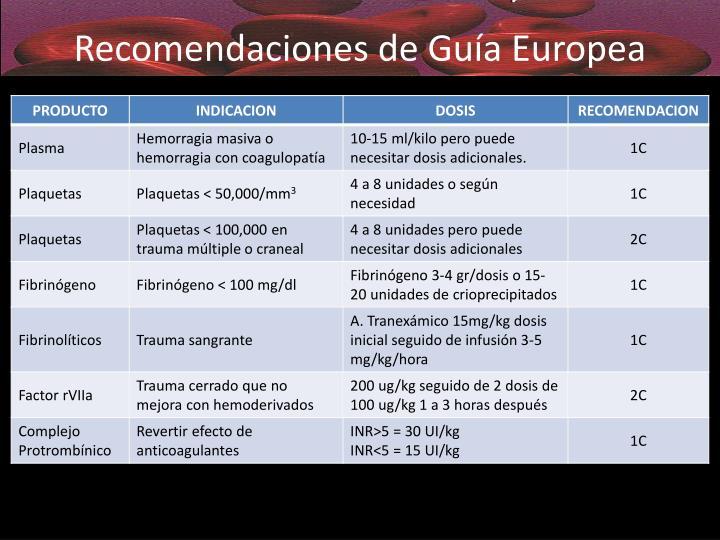 Recomendaciones de Guía Europea