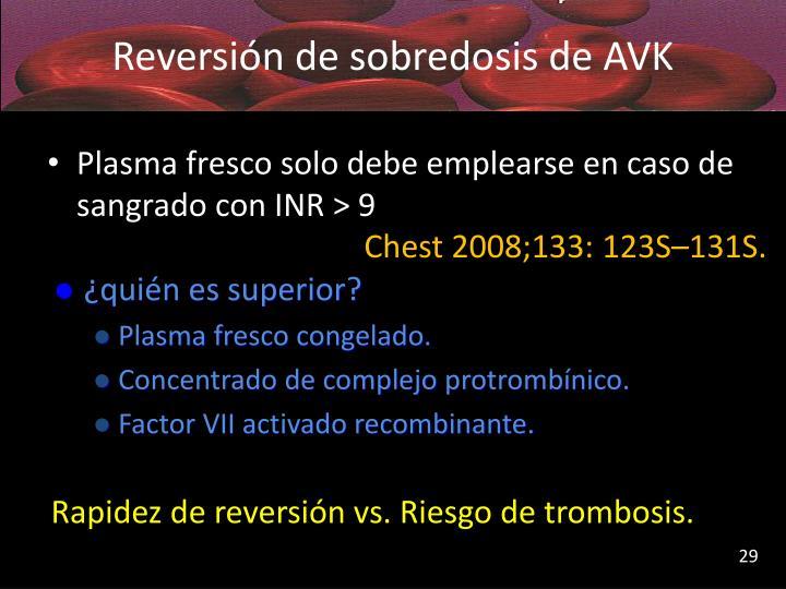 Reversión de sobredosis de AVK
