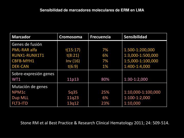 Sensibilidad de marcadores moleculares de ERM en LMA