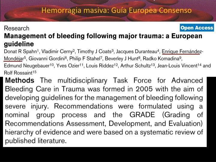 Hemorragia masiva: Guía Europea Consenso