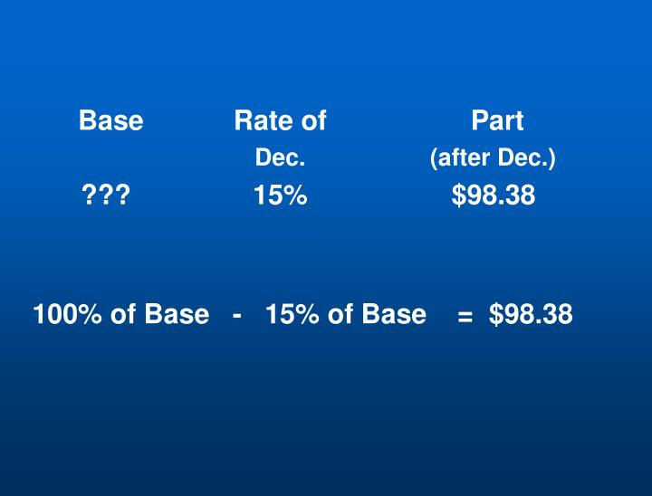 Base	Rate of 	  Part