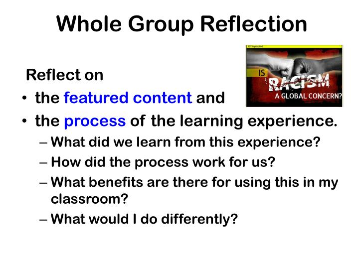 Whole Group Reflection