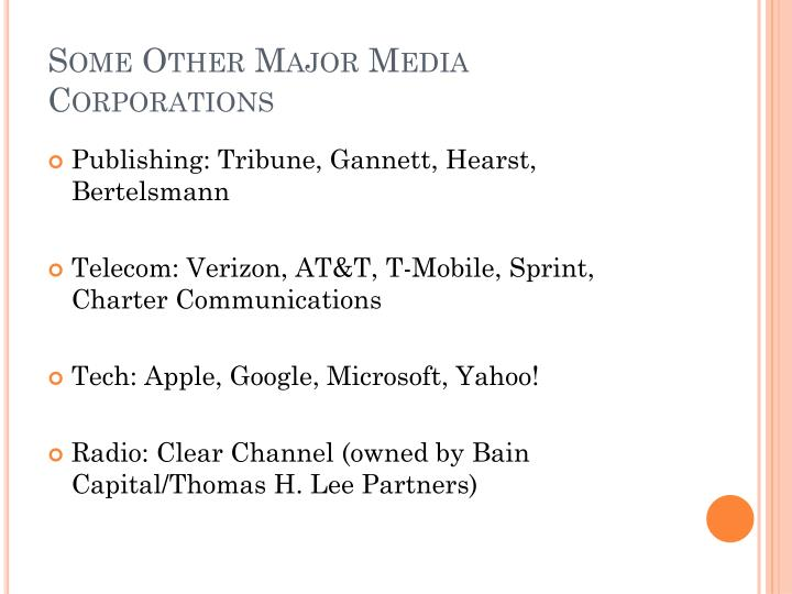 Some Other Major Media Corporations