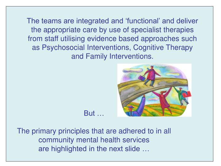 The teams are integrated and 'functional' and deliver the appropriate care by use of specialist therapies from staff utilising evidence based approaches such as Psychosocial Interventions, Cognitive Therapy and Family Interventions.