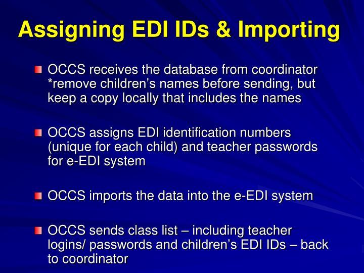 Assigning EDI IDs & Importing