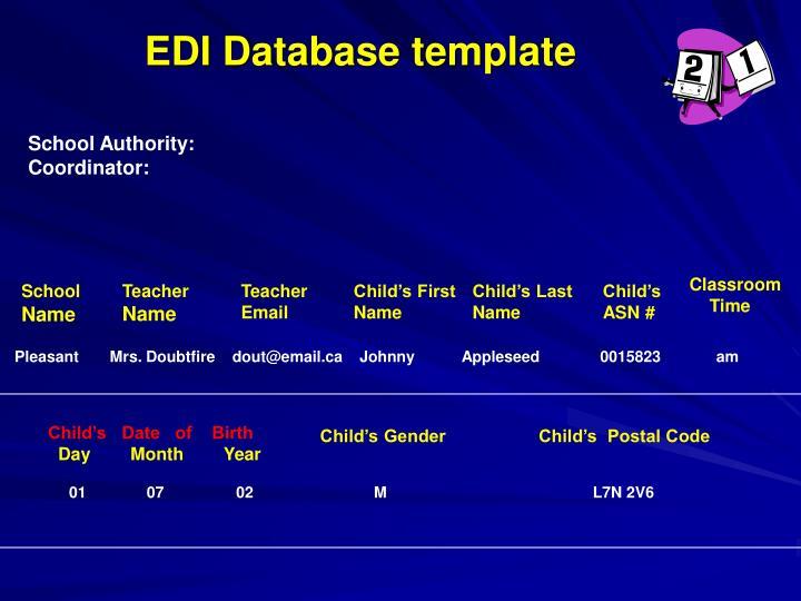 EDI Database template