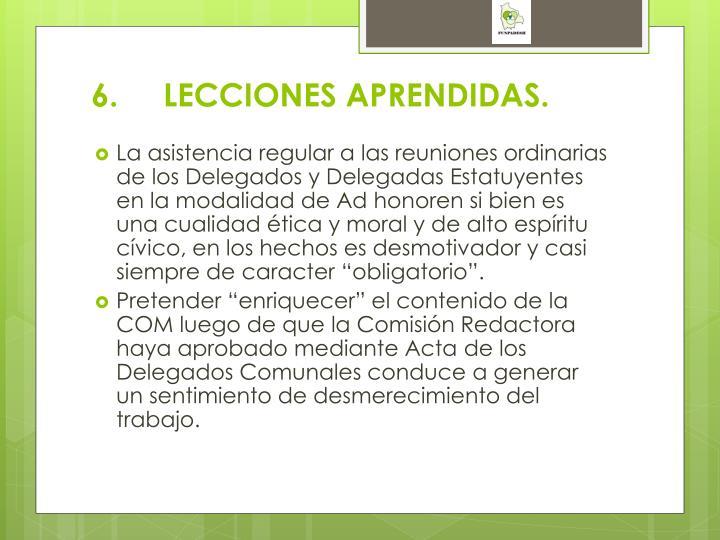 6.LECCIONES APRENDIDAS.