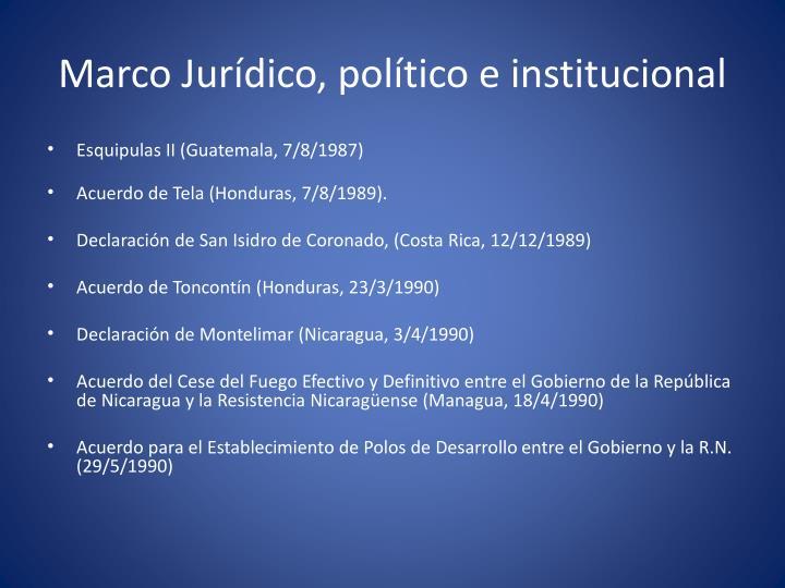Marco Jurídico, político e institucional