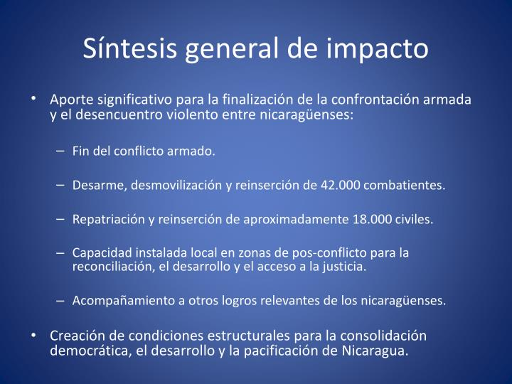 Síntesis general de impacto